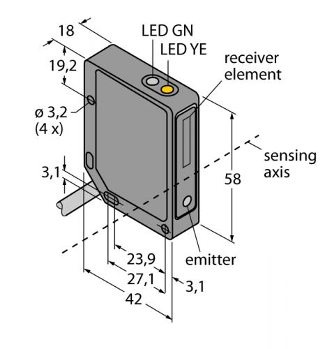 QMT42VN6FF1000 Фотоэлектрический датчик