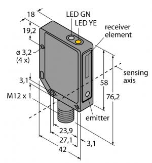 QMT42VP6FF1000Q Фотоэлектрический датчик