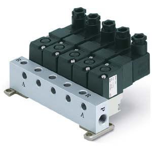 VV307, Блок 3-х линейных пневмораспределей с электрмагнитным управлением